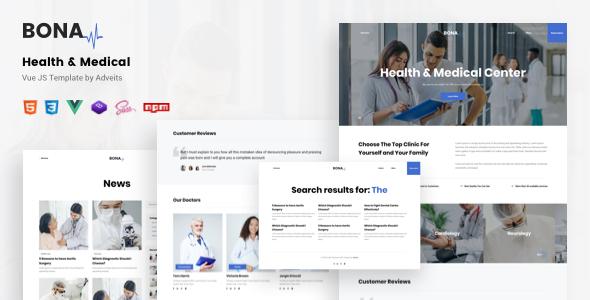 Incredible Bona - Health & Medical Vue JS Template