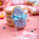 Easter baking background of frosted cookies in shape of egg on pink background - PhotoDune Item for Sale