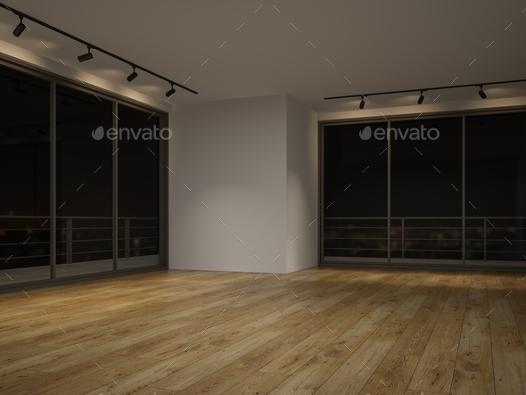 Interior empty room night view 3 D rendering - Stock Photo - Images