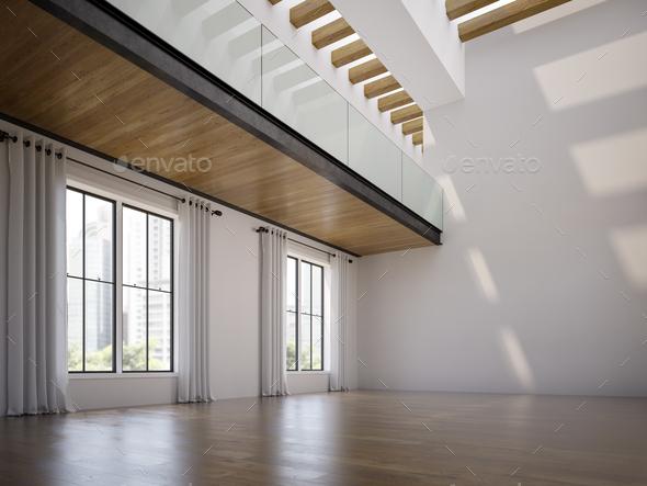 Empty modern interior room 3d illustration - Stock Photo - Images