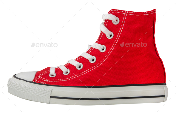 Isolated Retro Red Sneaker - Stock Photo - Images