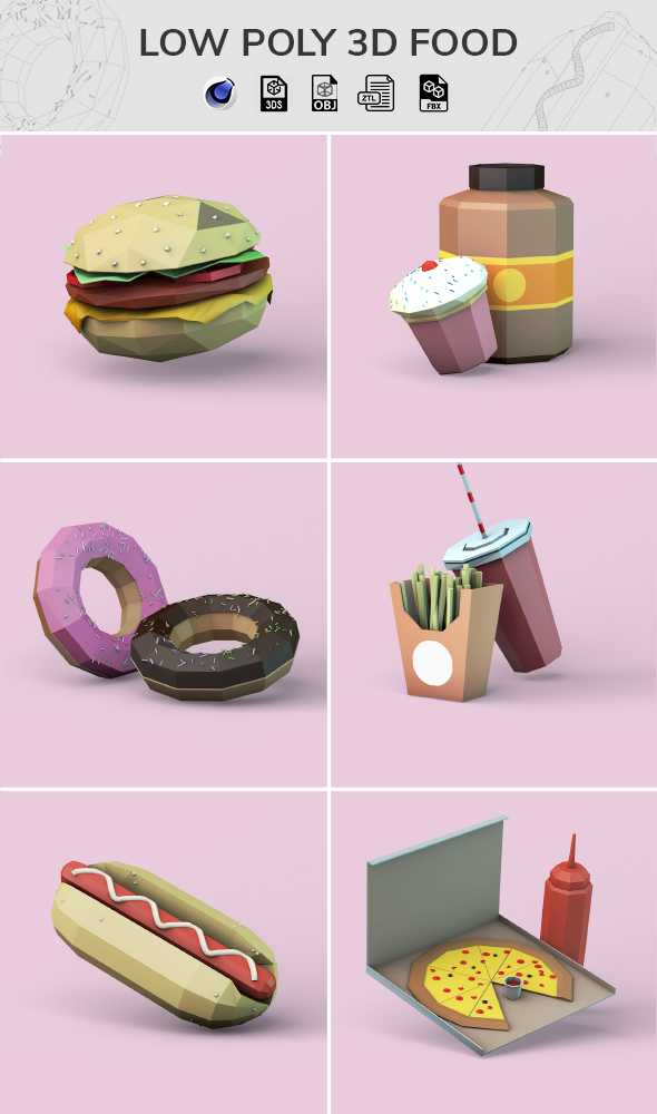 Low Poly 3D Food