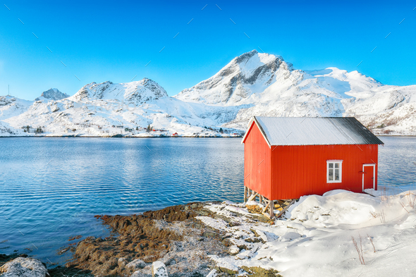 Captivating winter view of  fishing village on Sundstraumen strait - Stock Photo - Images
