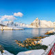 Fabulous winter view on Hamnoy village and bridge to Olenilsoya island. - PhotoDune Item for Sale