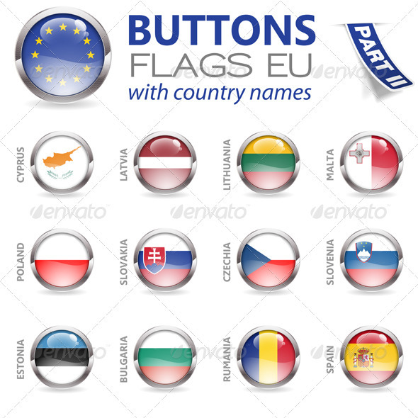 Buttons with EU Flags - Web Technology