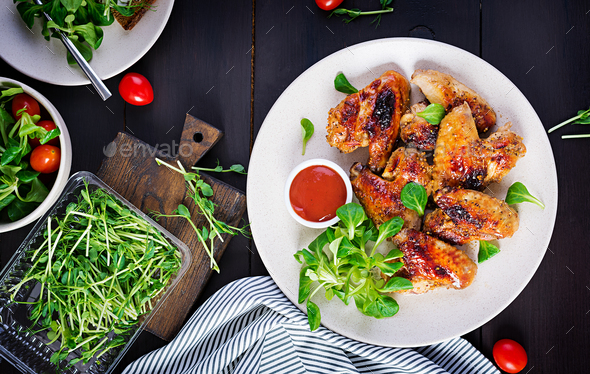 Grilled chicken wings. - Stock Photo - Images