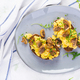 Scrambled eggs and fried mushrooms on bread. - PhotoDune Item for Sale