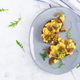 Scrambled eggs and fried mushrooms on bread - PhotoDune Item for Sale