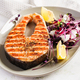 Salmon. Salmon fish steak grilled and radish salad with microgreens. Healthy food. - PhotoDune Item for Sale