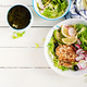 Ketogenic diet. Buddha bowl dish with  chicken burger, avocado, radish and black olives - PhotoDune Item for Sale