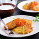 Fried potato pancakes with red caviar and sour cream, fritter, roesti. - PhotoDune Item for Sale