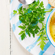 Chicken soup with noodles and vegetables in bowl. Top view, overhead, banner - PhotoDune Item for Sale