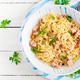 Classic homemade carbonara pasta with pancetta, egg, hard parmesan cheese - PhotoDune Item for Sale