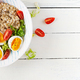 Breakfast oatmeal porridge with green herbs, boiled egg, tomatoes and paprika - PhotoDune Item for Sale
