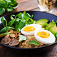 Breakfast oatmeal porridge with boiled egg, avocado and fried mushrooms. Healthy balanced food. - PhotoDune Item for Sale