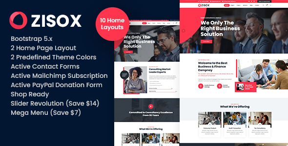 Zisox – Business & Consulting HTML Template