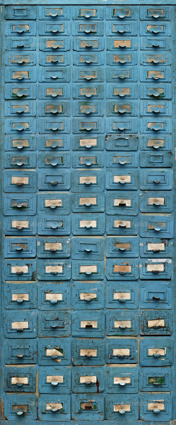 Old blue metal cabinet with drawers - Stock Photo - Images