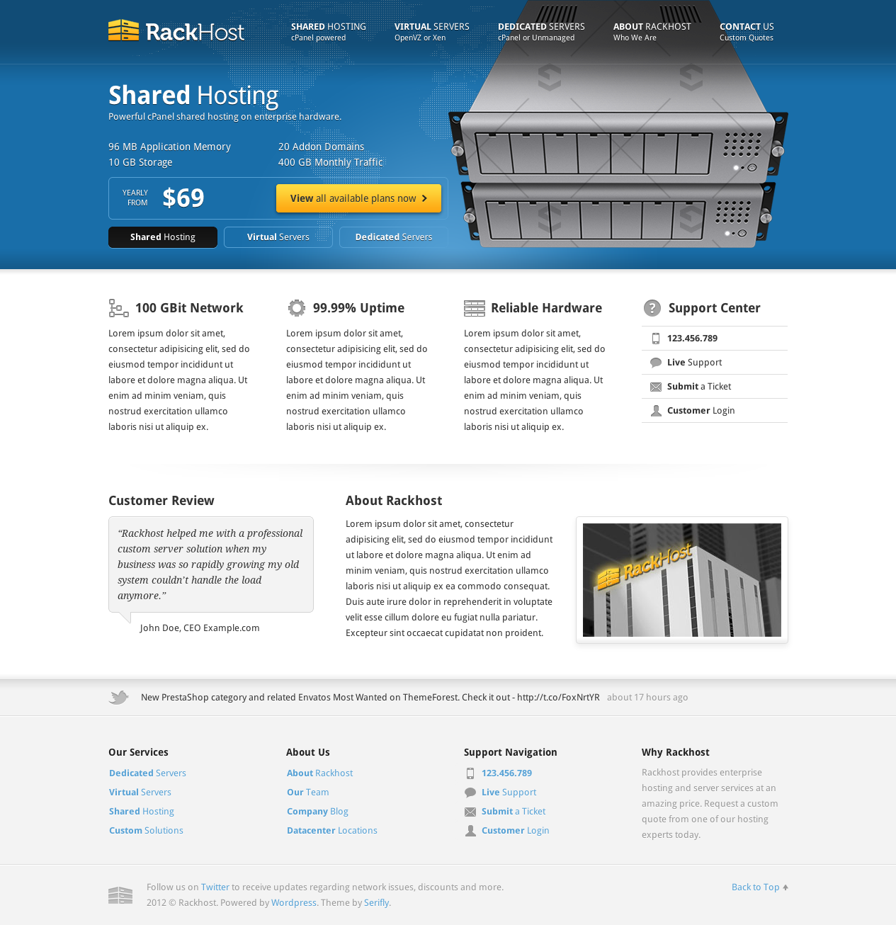 Rackhost Hosting WordPress Theme by Serifly | ThemeForest