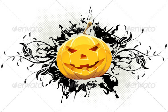 Grungy Floral Halloween Background with Pumpkin - Halloween Seasons/Holidays
