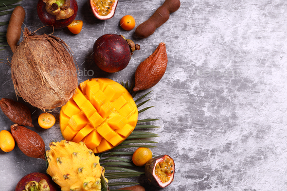 Assorted Tropical Exotic Fruits - Stock Photo - Images