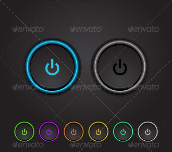 Vector Neon Glowing Power Buttons - Technology Conceptual
