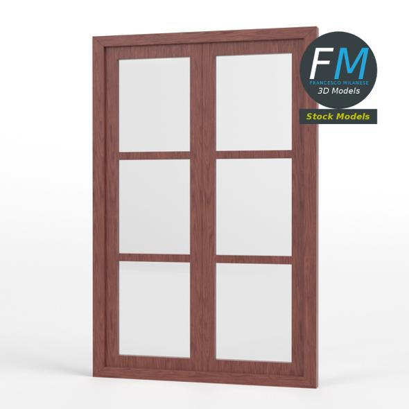 Six panel double window