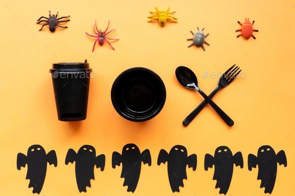 Halloween background with black dishes. - Stock Photo - Images