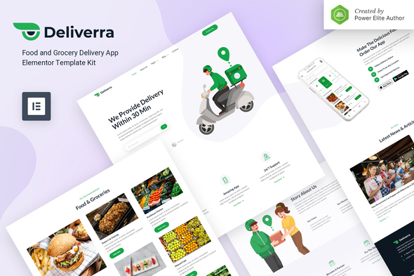 Deliverra – Food & Grocery Delivery App Elementor Template Kit
