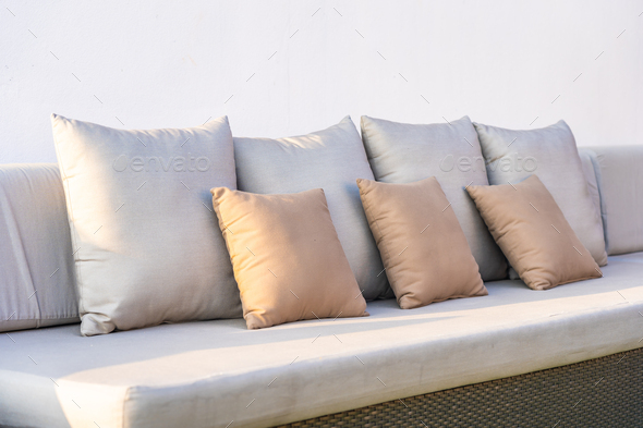 Comfortable pillow on sofa decoration interior of room - Stock Photo - Images