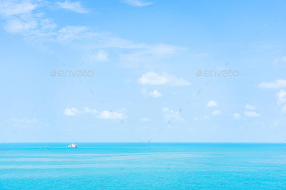 Beautiful nature of sea ocean with white cloud and blue sky - Stock Photo - Images