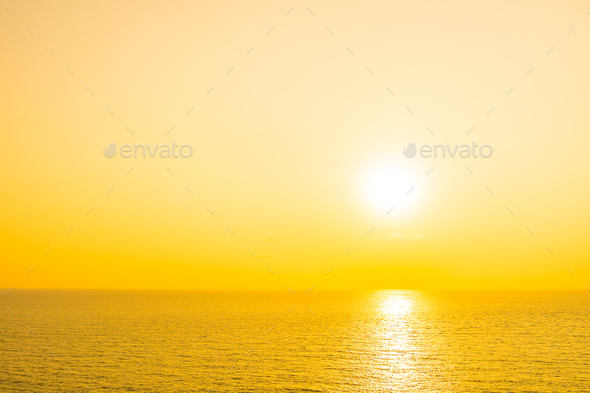 Beautiful tropical beach sea ocean with cloud and sky at sunset or sunrise time - Stock Photo - Images