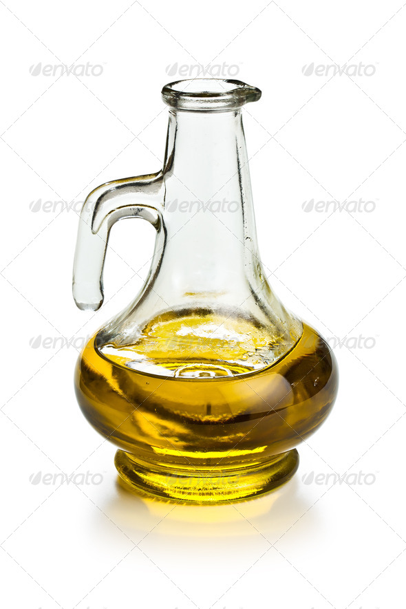 decanter with olive oil - Stock Photo - Images
