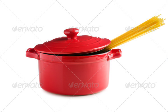 spaghetti in a red pot - Stock Photo - Images