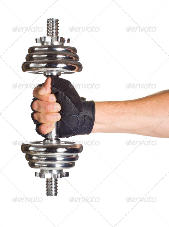 Chromed fitness dumbbell - Stock Photo - Images