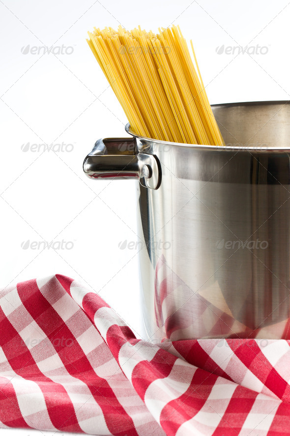 spaghetti in a stainless steel pot - Stock Photo - Images