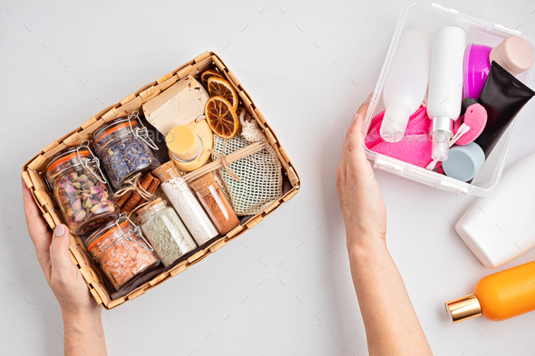 Preparing self care package, seasonal gift box with zero waste cosmetics vs industrial plastic - Stock Photo - Images