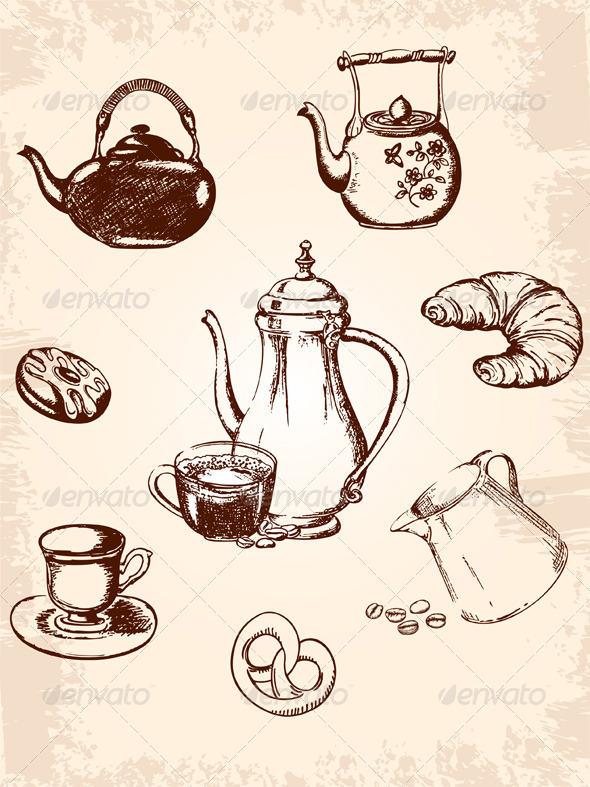 Vintage Coffee Set - Food Objects
