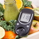 Glucose meter with sugar level and freshly blended coctail from fruits and vegetables - PhotoDune Item for Sale