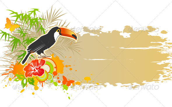 Tropical Summer Background - Animals Characters