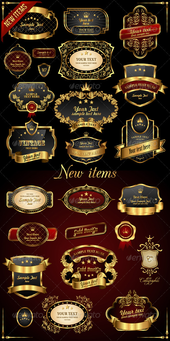 Retro Vector Gold Frames on Black Background - Web Elements Vectors