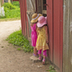 Twin Sisters Looking into a Barn - PhotoDune Item for Sale