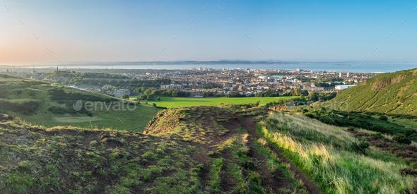 Edinburgh Scotland Summer Panorama - Stock Photo - Images