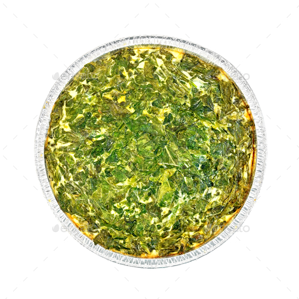 Pie celtic with spinach in form of foil - Stock Photo - Images