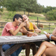 Friends Having Fun and Laughing Outside in a Ranch With Horses and Pony. Summer Day - PhotoDune Item for Sale