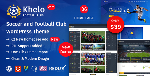 Khelo - Soccer & Sports WordPress Theme