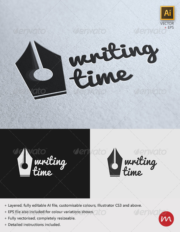"""Writing Time"" Creative Logo Template - Objects Logo Templates"