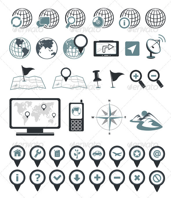 Location And Destination Icons - Travel Conceptual