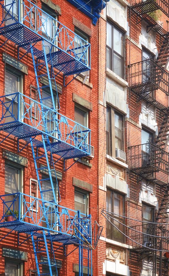 New York blue fire escape - Stock Photo - Images
