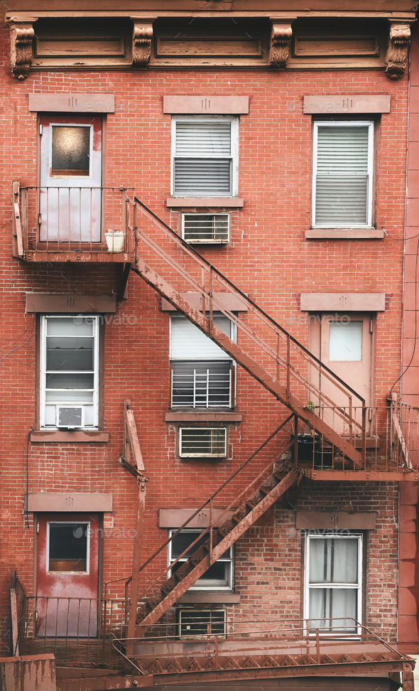 New York red fire escape - Stock Photo - Images