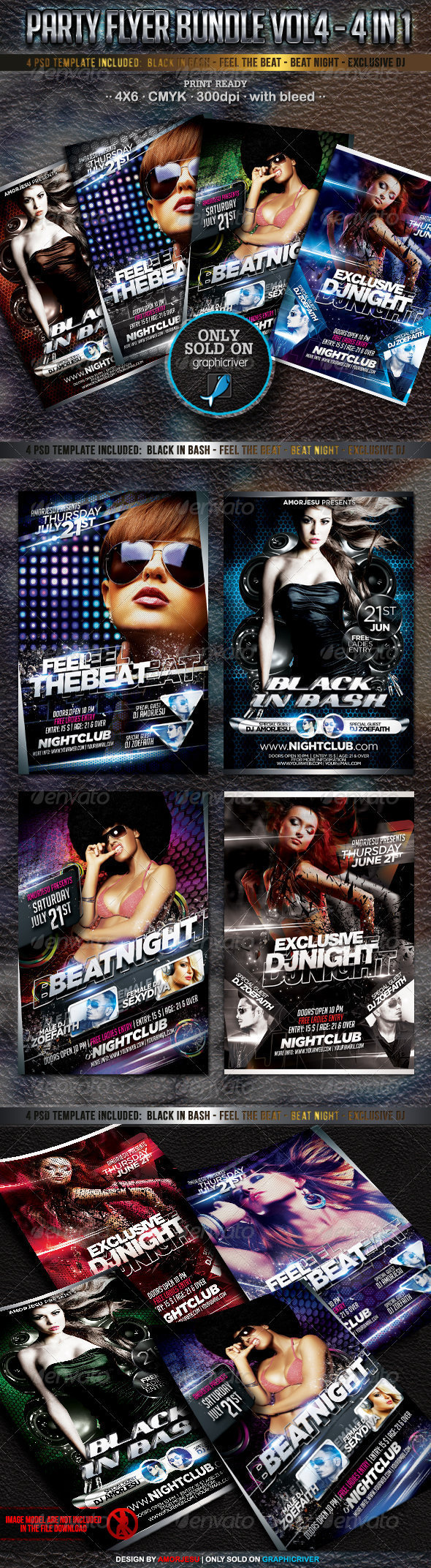 Party Flyer Bundle Vol4 - 4 in 1 - Events Flyers